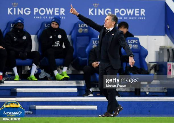 Claude Puel Manager of Leicester City gives his team instructions during the Premier League match between Leicester City and Watford FC at The King...