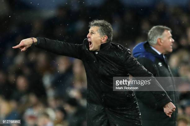 Claude Puel Manager of Leicester City gives his team instructions during the Premier League match between Everton and Leicester City at Goodison Park...