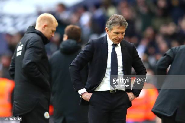 Claude Puel Manager of Leicester City looks dejected during the Premier League match between Tottenham Hotspur and Leicester City at Wembley Stadium...