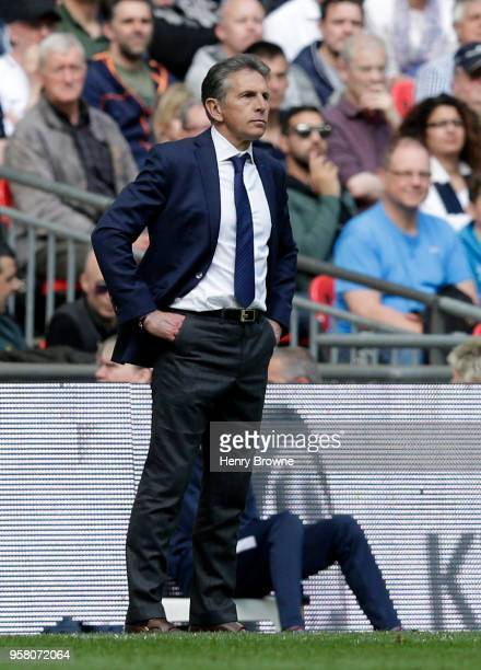 Claude Puel Manager of Leicester City looks during the Premier League match between Tottenham Hotspur and Leicester City at Wembley Stadium on May 13...