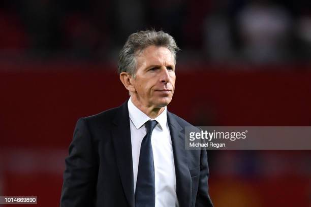 Claude Puel Manager of Leicester City looks on after the Premier League match between Manchester United and Leicester City at Old Trafford on August...