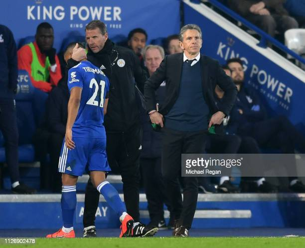 Claude Puel Manager of Leicester City looks on as Youri Teilemans of Leicester City is substituted during the Premier League match between Leicester...