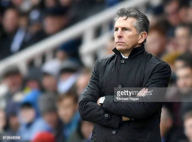 Claude Puel Manager of Leicester City looks on during The Emirates FA Cup Fourth Round match between Peterborough United and Leicester City at ABAX...