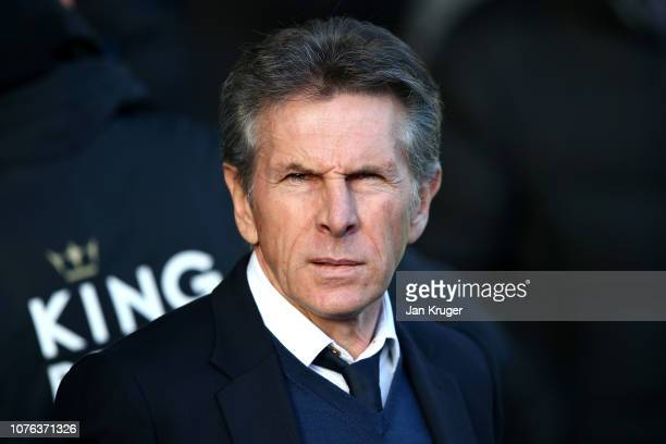 Claude Puel Manager of Leicester City looks on during the Premier League match between Everton FC and Leicester City at Goodison Park on January 1...