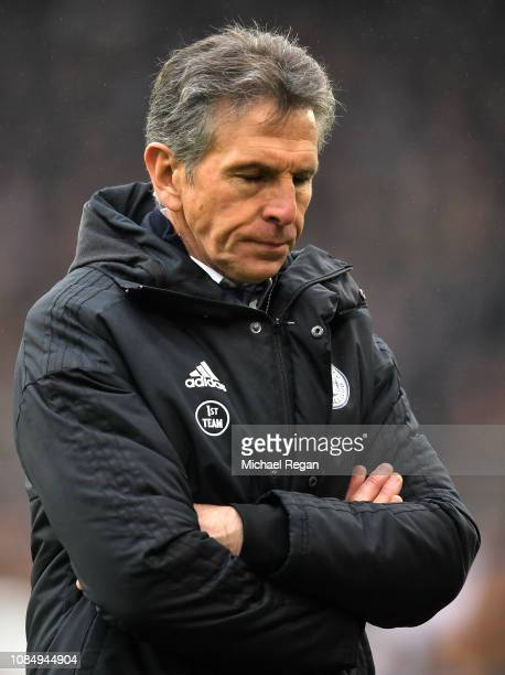 Claude Puel Manager of Leicester City looks on during the Premier League match between Wolverhampton Wanderers and Leicester City at Molineux on...