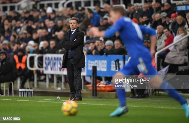 Claude Puel Manager of Leicester City looks on during the Premier League match between Newcastle United and Leicester City at St James Park on...