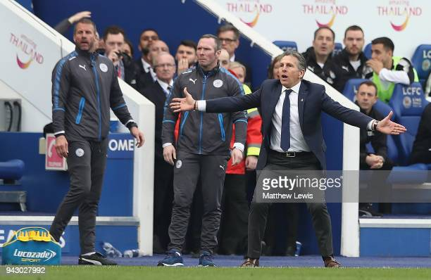 Claude Puel manager of Leicester City looks on during the Premier League match between Leicester City and Newcastle United at The King Power Stadium...