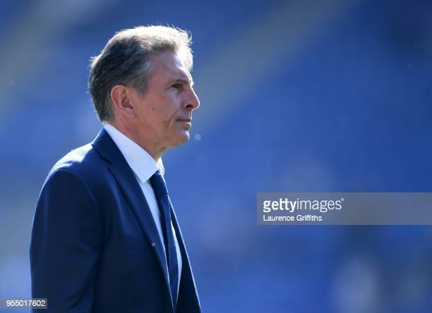 Claude Puel Manager of Leicester City looks on following the Premier League match between Leicester City and West Ham United at The King Power...