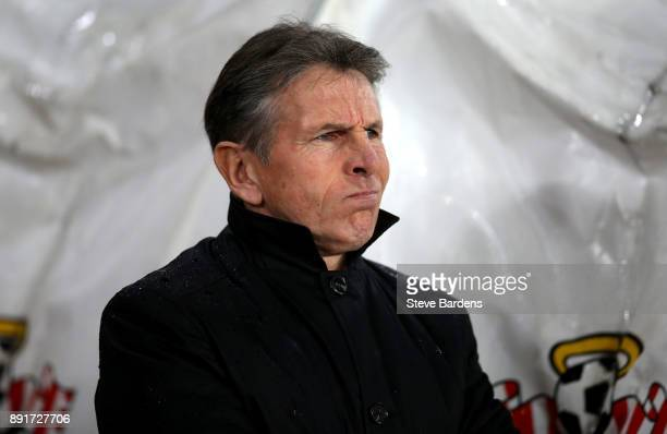 Claude Puel Manager of Leicester City looks on prior to the Premier League match between Southampton and Leicester City at St Mary's Stadium on...