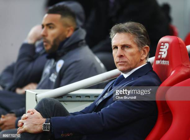 Claude Puel Manager of Leicester City looks on prior to the Premier League match between Liverpool and Leicester City at Anfield on December 30 2017...