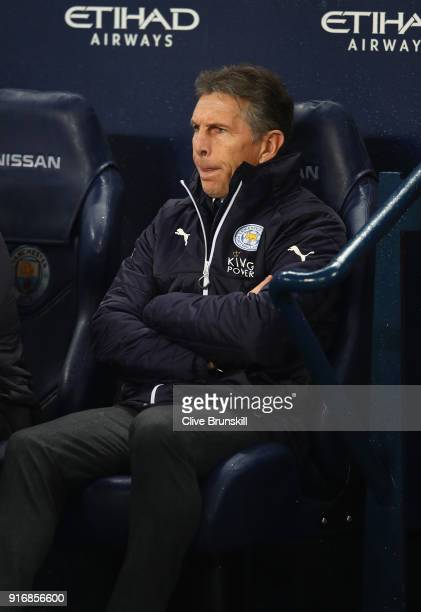 Claude Puel Manager of Leicester City looks on prior to the Premier League match between Manchester City and Leicester City at Etihad Stadium on...