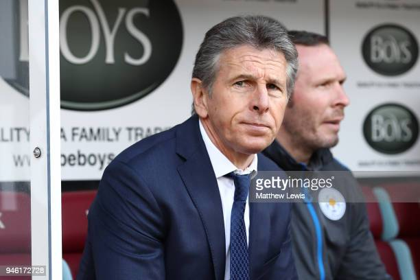Claude Puel Manager of Leicester City looks on prior to the Premier League match between Burnley and Leicester City at Turf Moor on April 14 2018 in...