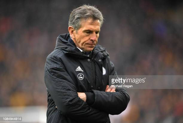 Claude Puel Manager of Leicester City reacts during the Premier League match between Wolverhampton Wanderers and Leicester City at Molineux on...