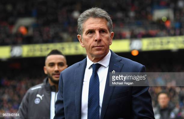 Claude Puel Manager of Leicester City shakes hands with Roy Hodgson Manager of Crystal Palace during the Premier League match between Crystal Palace...