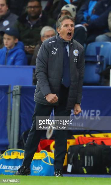 Claude Puel Manager of Leicester City shouts during the Premier League match between Leicester City and Manchester City at The King Power Stadium on...