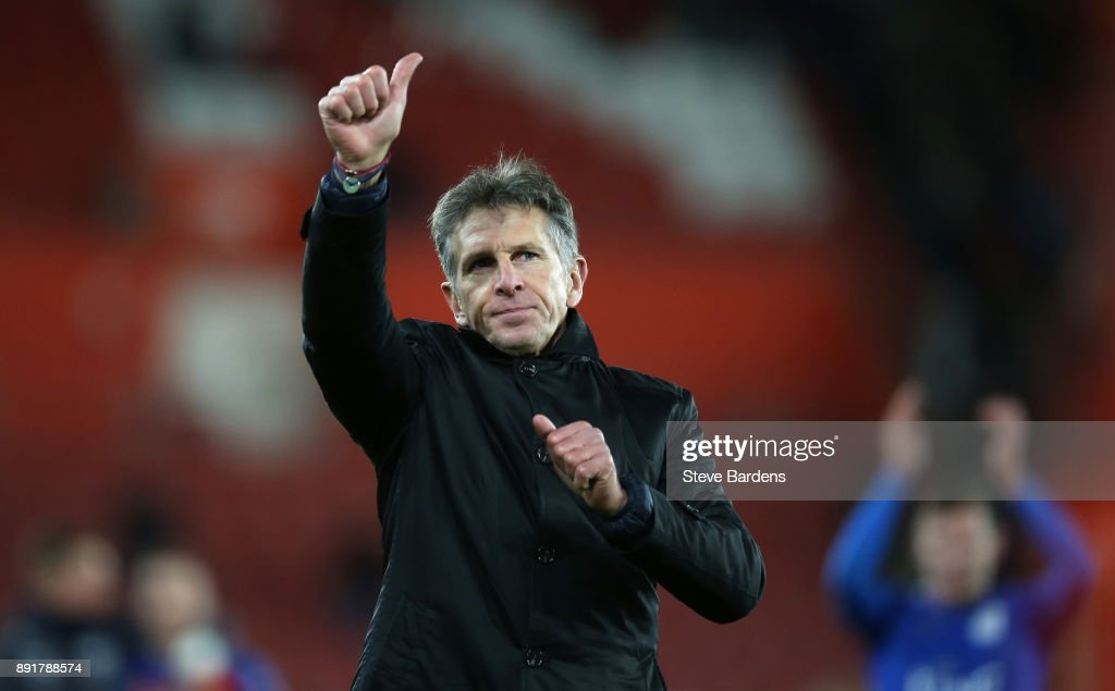Claude Puel, Manager of Leicester City shows appreciation to the fans after the Premier League match between Southampton and Leicester City at St Mary's Stadium on December 13, 2017 in Southampton, England.