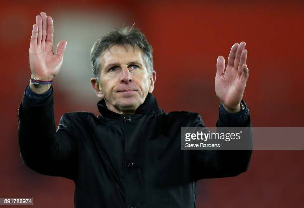 Claude Puel Manager of Leicester City shows appreciation to the fans after the Premier League match between Southampton and Leicester City at St...