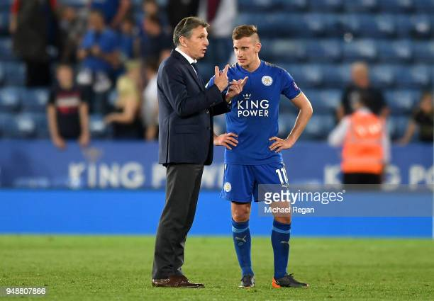 Claude Puel Manager of Leicester City speaks to Marc Albrighton of Leicester City after the Premier League match between Leicester City and...