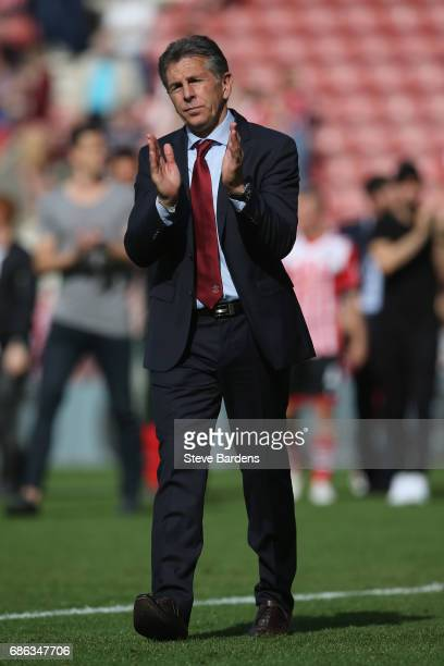 Claude Puel Manager of Southampton acknowledges the Southampton supporters during a lap of appreciation after the Premier League match between...