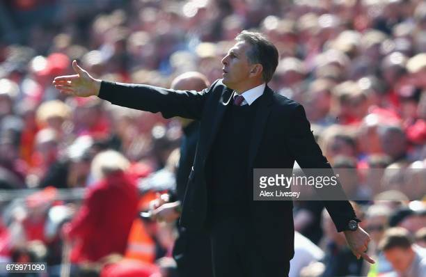 Claude Puel Manager of Southampton gives his team instructions during the Premier League match between Liverpool and Southampton at Anfield on May 7...