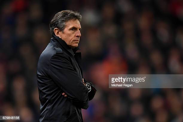 Claude Puel Manager of Southampton looks on during the Premier League match between Stoke City and Southampton at Bet365 Stadium on December 14 2016...