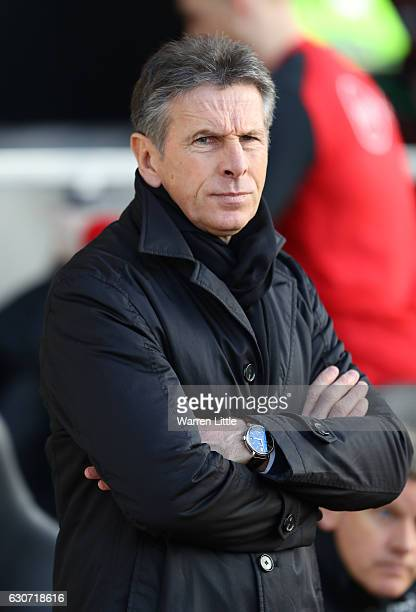 Claude Puel Manager of Southampton looks on during the Premier League match between Southampton and West Bromwich Albion at St Mary's Stadium on...