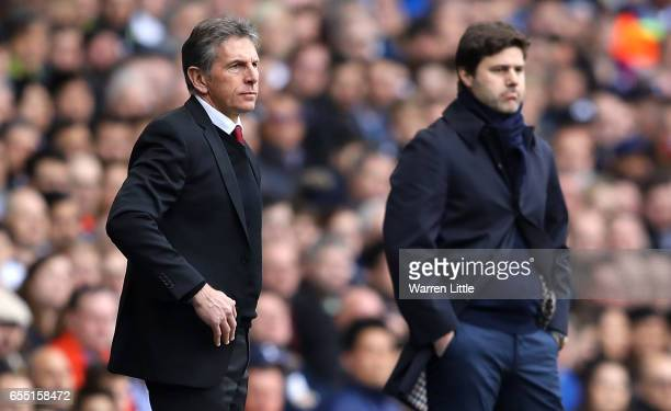 Claude Puel Manager of Southampton looks on during the Premier League match between Tottenham Hotspur and Southampton at White Hart Lane on March 19...