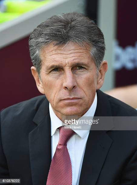 Claude Puel manager of Southampton looks on prior to the Premier League match between West Ham United and Southampton at London Stadium on September...