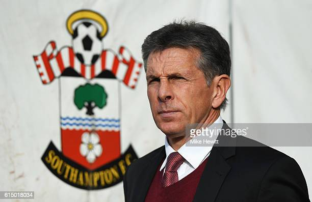 Claude Puel manager of Southampton looks on prior to the Premier League match between Southampton and Burnley at St Mary's Stadium on October 16 2016...