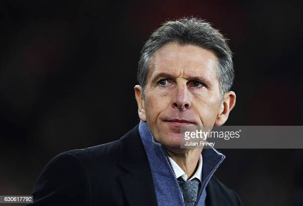 Claude Puel manager of Southampton looks on prior to the Premier League match between Southampton and Tottenham Hotspur at St Mary's Stadium on...