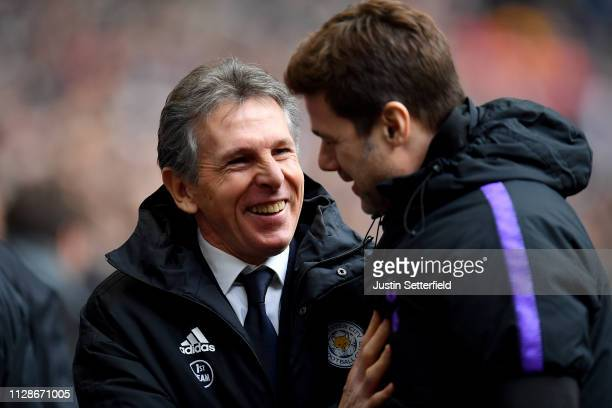 Claude Puel of Leicester City greets Mauricio Pochettino of Tottenham Hotspur before the Premier League match between Tottenham Hotspur and Leicester...