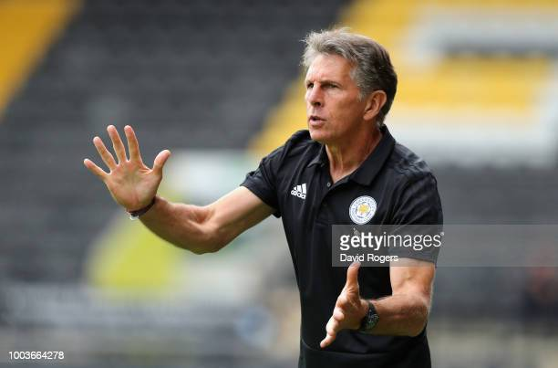 Claude Puel the Leicester City manager issues instructions durng the preseason friendly match between Notts County and Leicester City at Meadow Lane...
