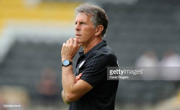 Claude Puel the Leicester City manager looks on durng the preseason friendly match between Notts County and Leicester City at Meadow Lane on July 21...