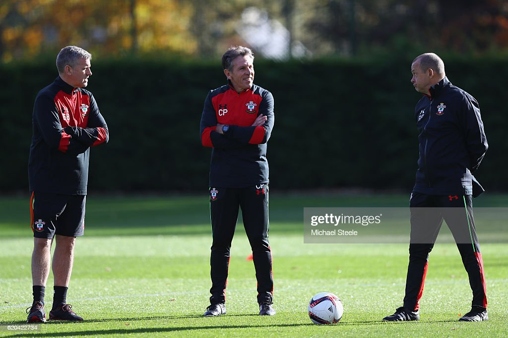 Claude Puel (C) the manager of Southampton alongside assistants Eric Black (L) and Pascal Plancque (R) during the Southampton training session at Staplewood Training Ground on November 2, 2016 in Southampton, England.
