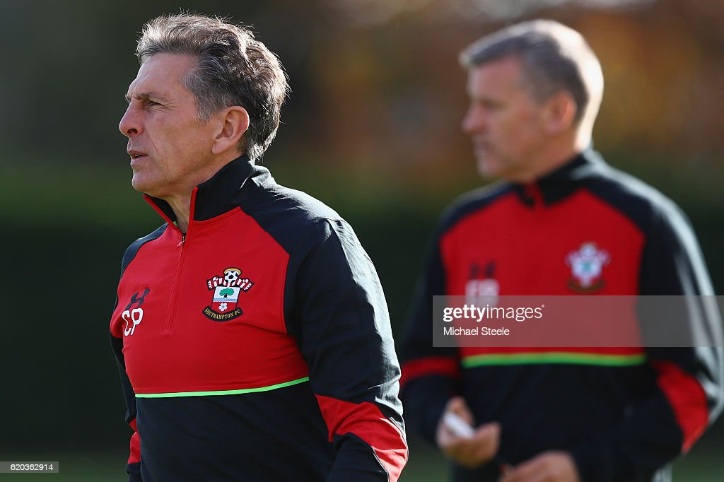 Claude Puel (L) the manager of Southampton looks on during the Southampton training session at Staplewood Training Ground on November 2, 2016 in Southampton, England.