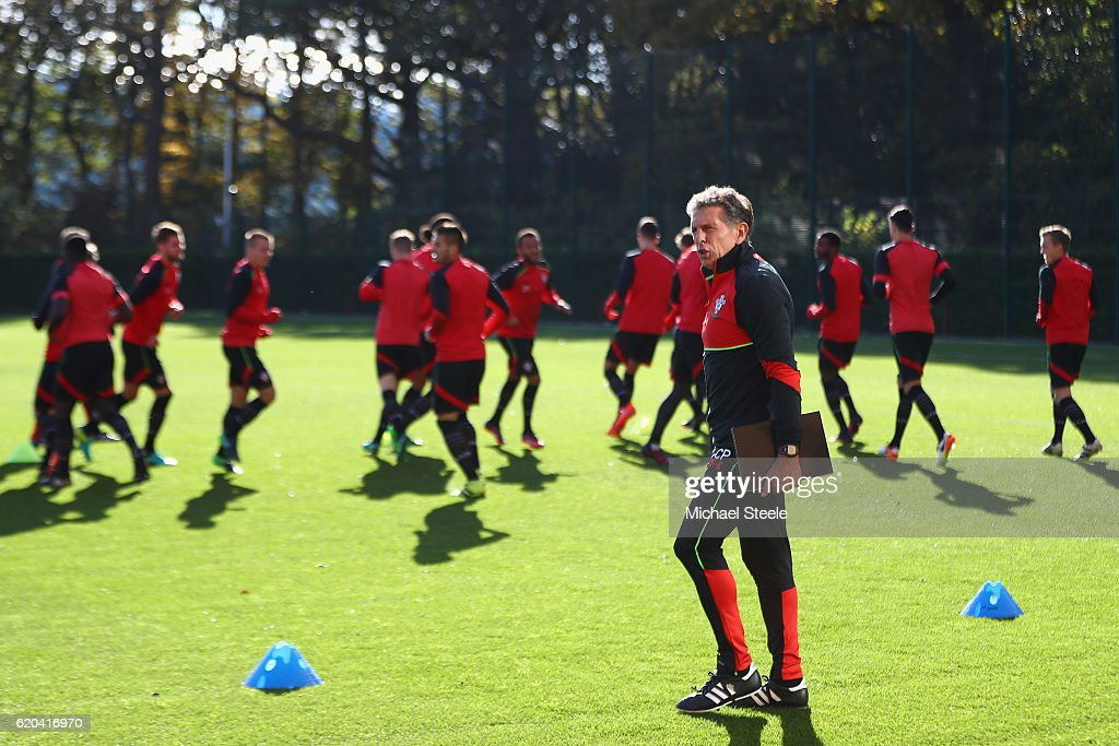Claude Puel the manager of Southampton looks on during the Southampton training session at Staplewood Training Ground on November 2, 2016 in Southampton, England.