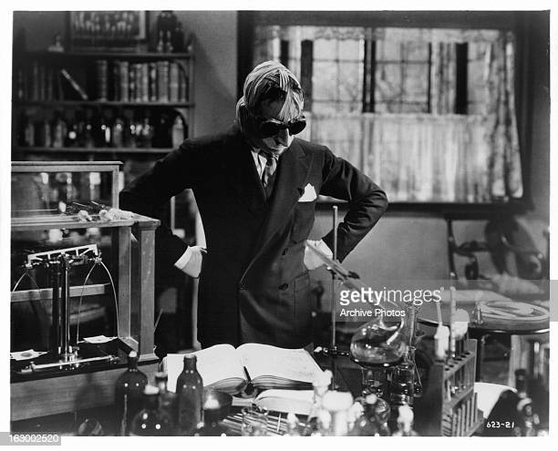 Claude Rains looks over his work in a scene from the film 'The Invisible Man' 1933