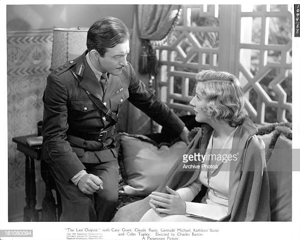 Claude Rains talks to Gertrude Michael in a scene from the film 'The Last Outpost' 1935