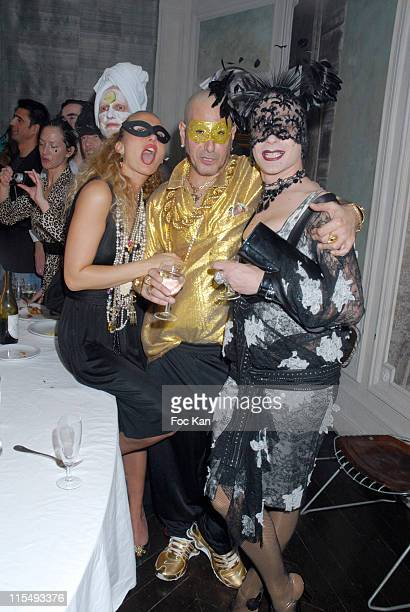DJ Claude Sabbah and Two guests attend the Ellen Von Unwerth and Bridget Yorke Masked Birthday Party in a Private Flat Rue Francois 1er on February...