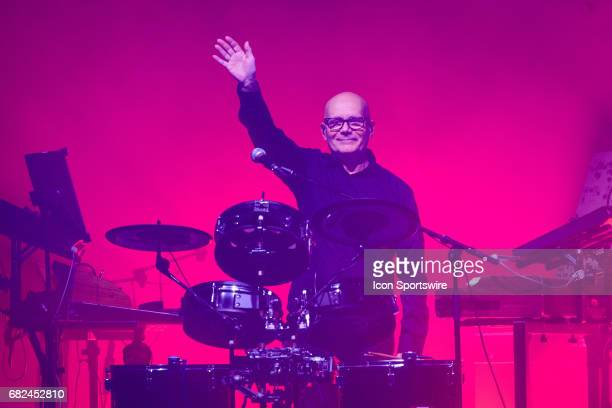 Claude Samard Polikar a backing musician to French electronic musician JeanMichel Jarre acknowledges the fans during JeanMichel Jarre's first stop of...