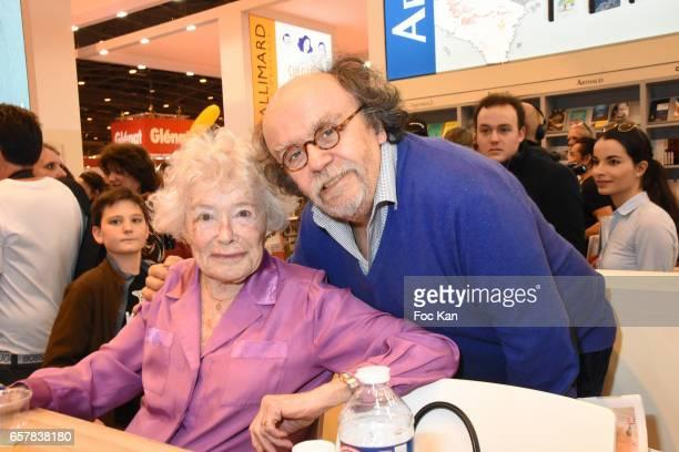 Claude Sarraute and Jean Michel Ribes attend 'Encore un Instant' Claude Sarraute book signing during Paris Book Fair 2017 at Parc Des Expositions...