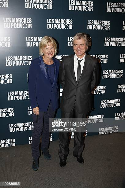 Claude Serillon and wife Catherine Ceylac attend 'The Ides of March' Paris Premiere at Cinema UGC Normandie on October 18 2011 in Paris France