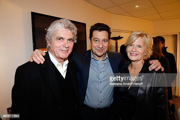 Claude Serillon Laurent Gerra and Catherine Ceylac attend in Backstage the Laurent Gerra Show at Palais des Sports on December 27 2014 in Paris France