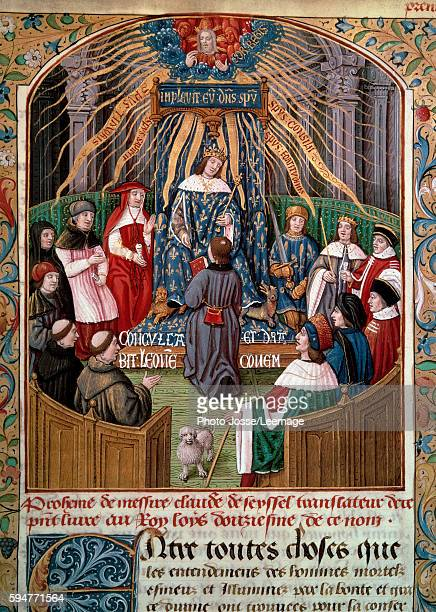 Claude Seyssel offering his book to King Louis XII Miniature from 'The Monarchy of France' by Claude de Seyssel 16th century BN Paris France