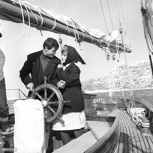 Claude Titre and Margit Saad on the shooting of an episode of the television series Bob Morane's adventures