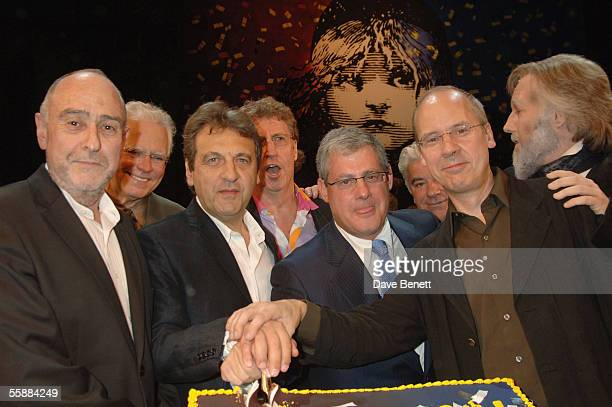 ClaudeMichelle Schonberg Alain Boublil Sir Cameron Mackintosh and John Caird at the 20th Anniversary Celebration of Les Miserables show at the Queens...