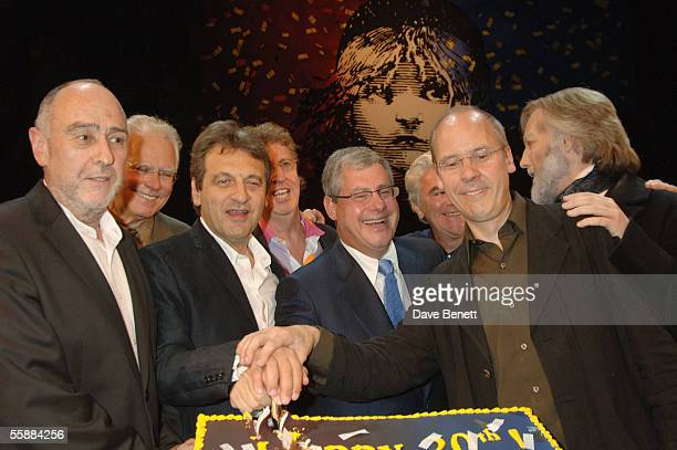 ClaudeMichelle Schonberg Alain Boublil Sir Cameron Mackintosh and John Caird at the '20th Anniversary Celebration of Les Miserables' show at the...