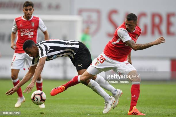 Claudemir of SC Braga competes for the ball during the Preseason friendly between SC Braga and Newcastle on August 1 2018 in Braga Portugal
