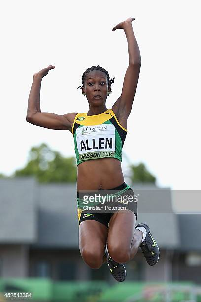 Claudette Allen of Jamaica competes in the women's long jump qualifying during day one of the IAAF World Junior Championships at Hayward Field on...