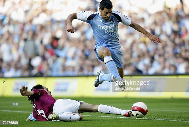 Claudi Reyna of City skips the tackle of Yossi Benayoun of West Ham during the Barclays Premiership match between Manchester City and West Ham United...